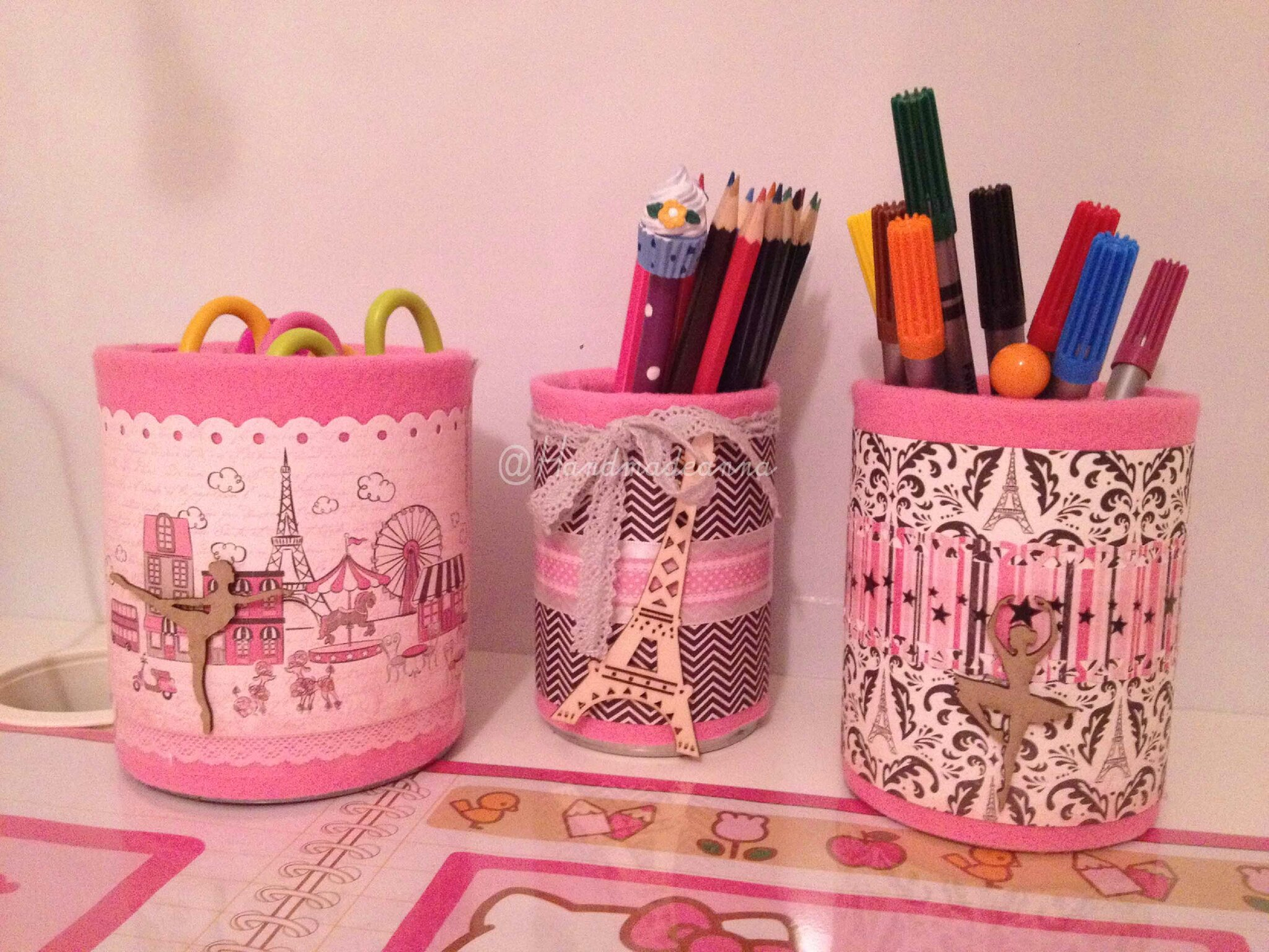 pots boites co pour un bureau girly paris petit rat de l 39 op ra handmade by anna. Black Bedroom Furniture Sets. Home Design Ideas