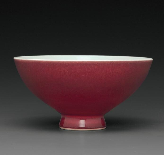 A copper-red-glazed bowl, Qianlong six-character seal mark in underglaze blue and of the period (1736-1795)