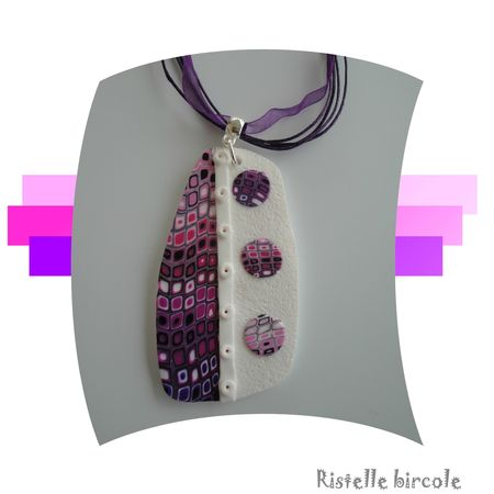 pendentif blanc rose violet