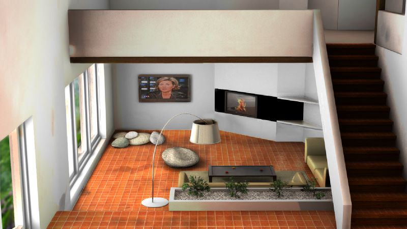 Am nagement d 39 un salon projet 3d stinside architecture - Agencement salon cuisine 40m2 ...