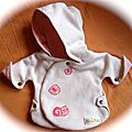New-born version manteauà capuche. BLUEANN CREATION