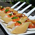 Apéro « impression d'été » #1: conchiglioni à la mousse de jambon et au pesto de tomates confites