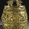 A rare and important imperial gilt-bronze ritual bell (bianzhong), qianlong mark and period, 1743