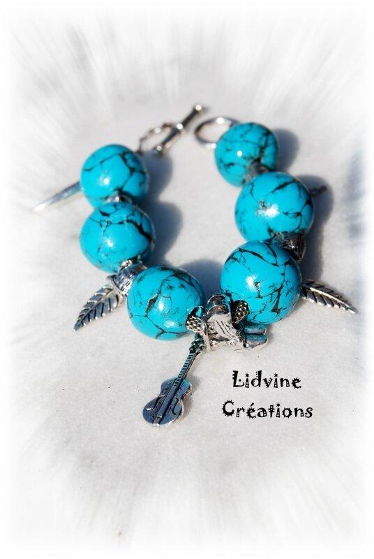 Bracelet boules turquoises