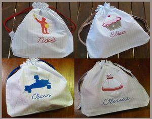 4 sacs tissu écolier
