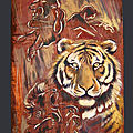 Fauve Grand prédateur Félin TIGRE PRISONNIER Ghislaine Letourneur Peinture sur métal huile - Peintures animaux sauvages - Tiger oil painting