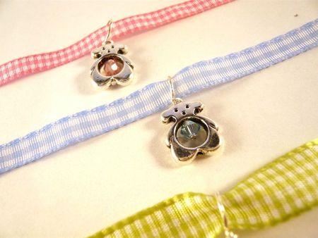bracelet ruban vichy enfant ours argenté perle (3)