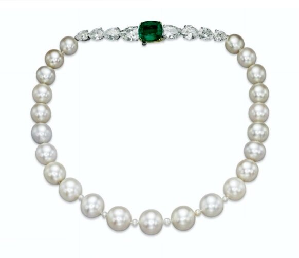 A magnificent and rare natural pearl, emerald and diamond necklace