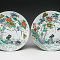 Two Famille-Verte, 'Bird and Flower' dishes. Qing dynasty, Kangxi period