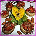 Champignons farcis à la viande, tomates, poivrons aubergines