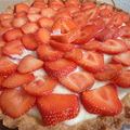 Tarte aux fraises, crme ptissire au sureau