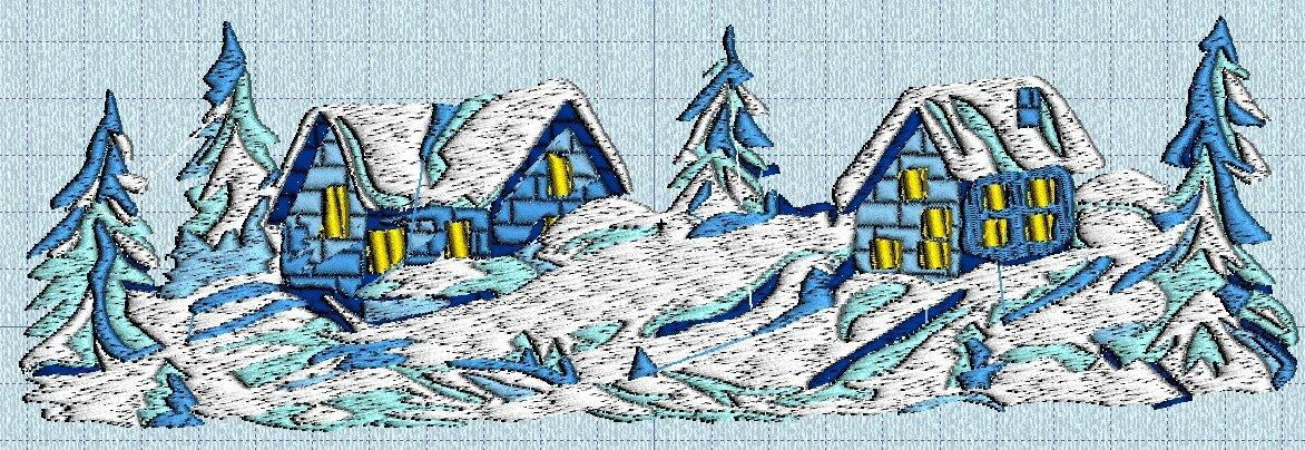 village sous la neige 01 machine