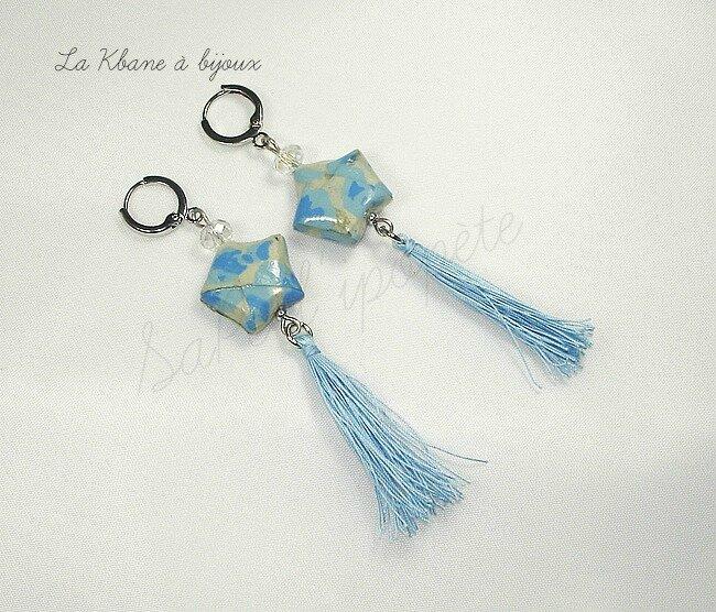 Etoiles papier népalais fleurs bleues 1