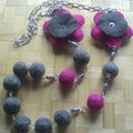collier laine rose et gris