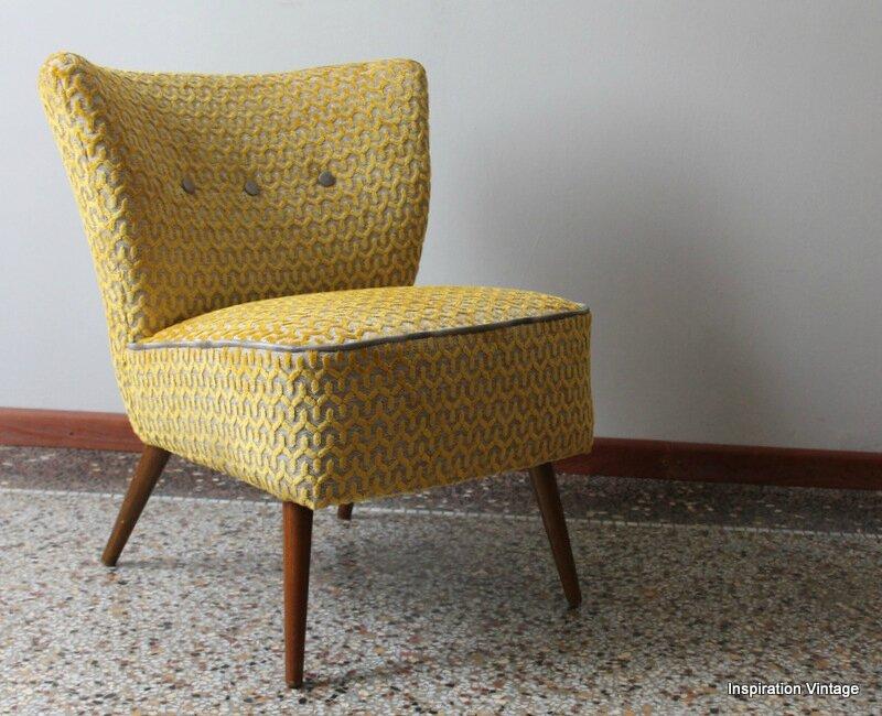 fauteuil cocktail 50 39 s tissu jim jaune inspiration vintage. Black Bedroom Furniture Sets. Home Design Ideas