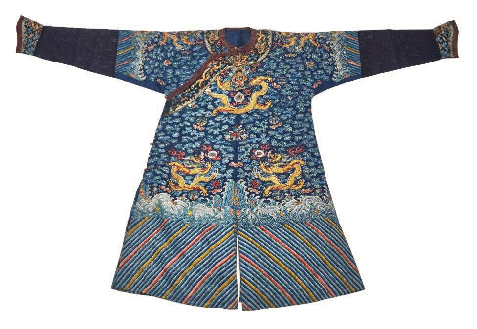 Blue ground silk gauze summer dragon robe, jifu, second-half 19th century