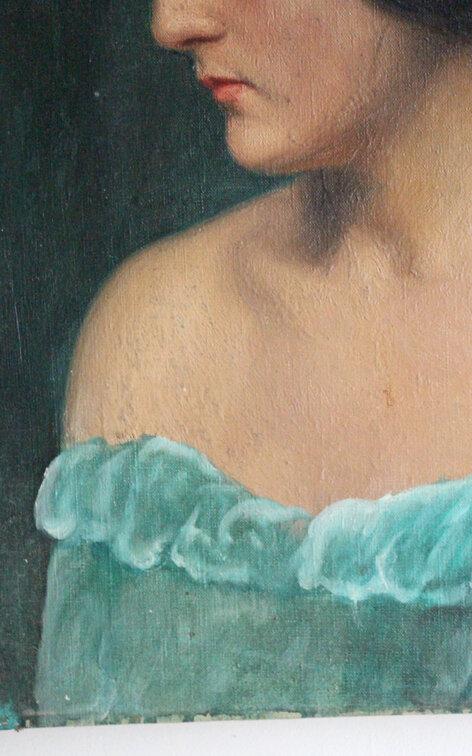 portrait-tableau-ancien-robe