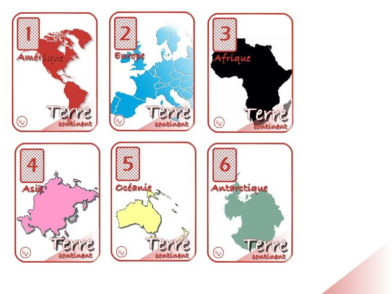 Très FAMILLE TERRE continent - Jeu de 7 familles NC63