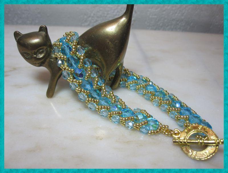 570b bracelet flat spiral stich turquoise et doré