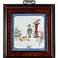 Three framed porcelain plaques with antiquities, flowers, fruits, and scholar's objects, 18th-19th century