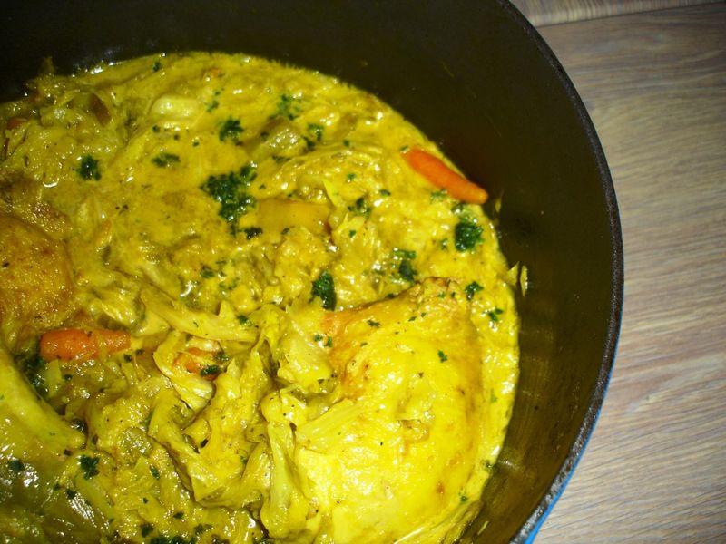 Tajine de poulet chou vert au lait de coco ou comment - Comment cuisiner un choux vert ...