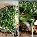 Une pizza gourmande (socle chou fleur) chèvre et roquette