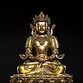 Grand 'amitayus' en bronze doré