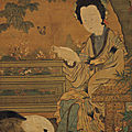 Lady reading a book, chou wen-chü, five dynasties period (southern t'ang), hanging scroll