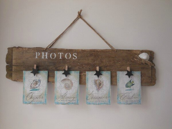 Porte photo et bougeoir en bois flott ingrid cr ations for Creation objet en bois flotte