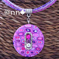 Collier Fimo rond multicolore rose mauve strass (N)