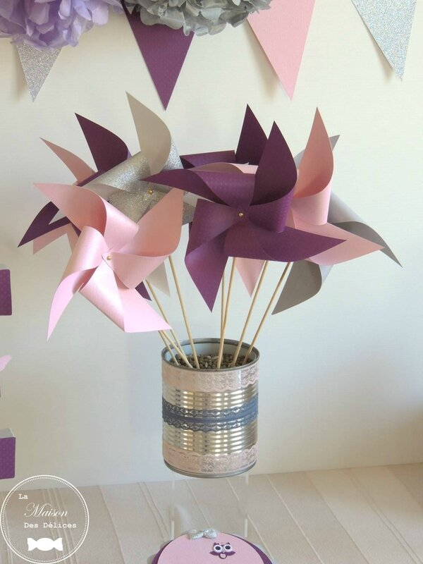 moulin a vent decoration mariage bapteme baby shower anniversaire prune rose gris fanions