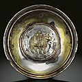 A fine and very rare parcel-gilt 'rhinoceros' silver dish, tang dynasty, 8th-9th century