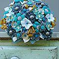 Bouquet de mariée bleu et moutarde