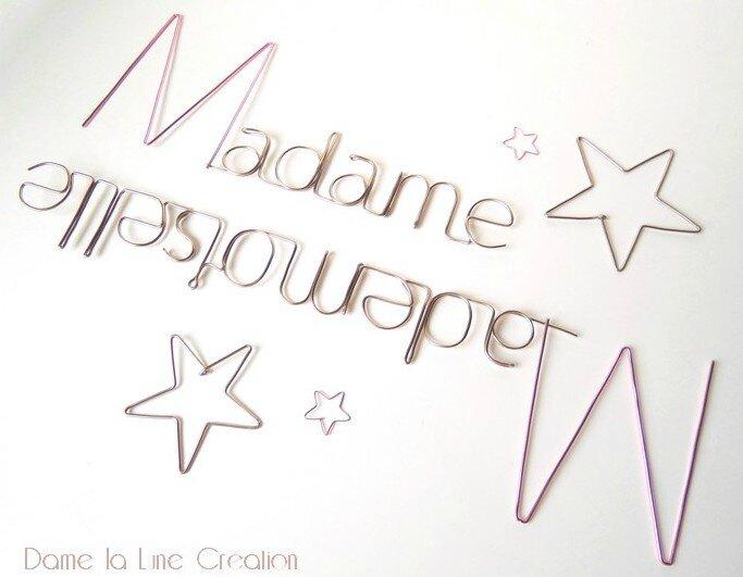 Madame mademoiselle_fil aluminium_dame la lune création_ fil de fer_logo_nom de marque