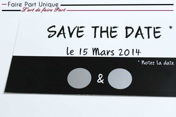 save the date gratter noir et blanc faire part unique. Black Bedroom Furniture Sets. Home Design Ideas