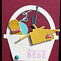 Un combo ... un panier de tricot ... une carte de naissance fille !