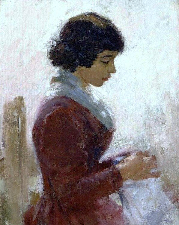 Theodore Robinson - Girl In Red Sewing