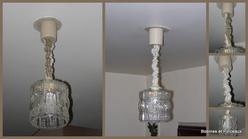 lustre 1 verre avec cache fil en fronc toile matelas photo de relooking de meubles ou. Black Bedroom Furniture Sets. Home Design Ideas