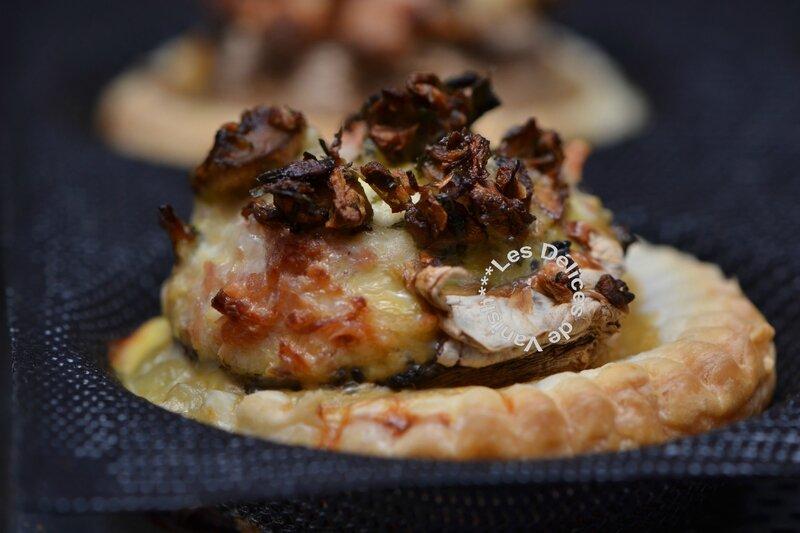 tartelettes aux champignons farcis, salade, recette guy demarle