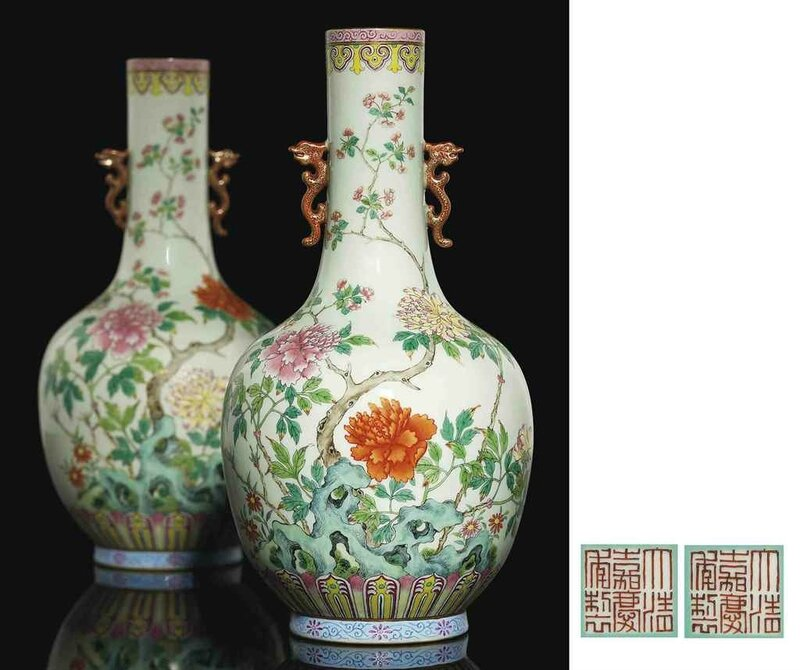 A superb pair of famille rose vases, Jiaqing iron-red six-character seal marks and of the period (1796-1820)