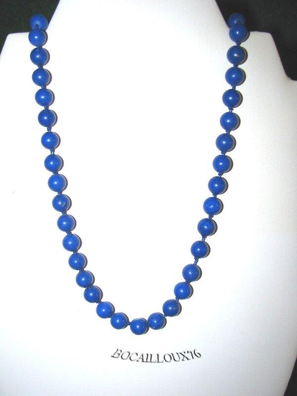 Collier HOWLITE Lapis 1 Perles D