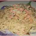 Spaghettis au saumon fumé et au fenouil
