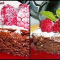 Gteau moelleux chocolat / framboises / cardamome...