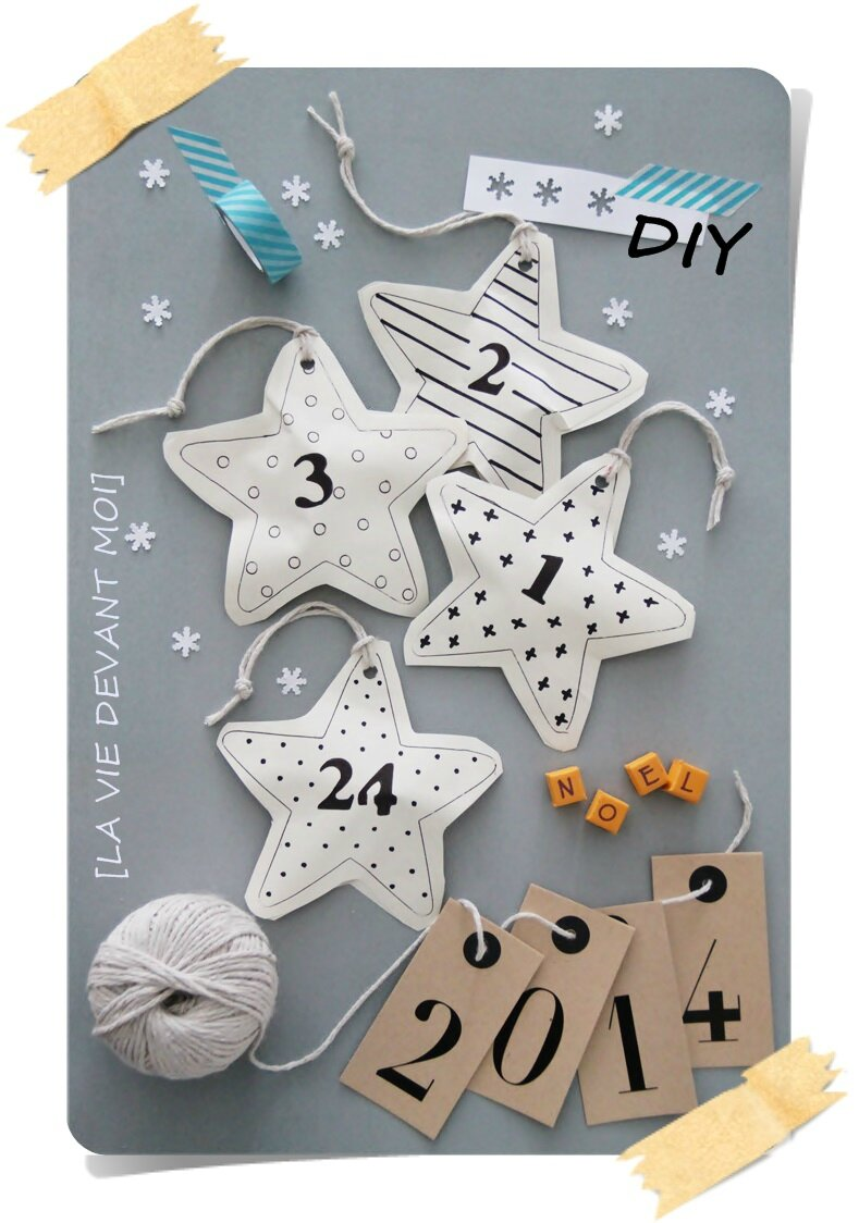 diy fabriquer un calendrier de l 39 avent messages la. Black Bedroom Furniture Sets. Home Design Ideas