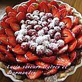 Tarte aux fraises et framboises (sur une crème à la framboise)