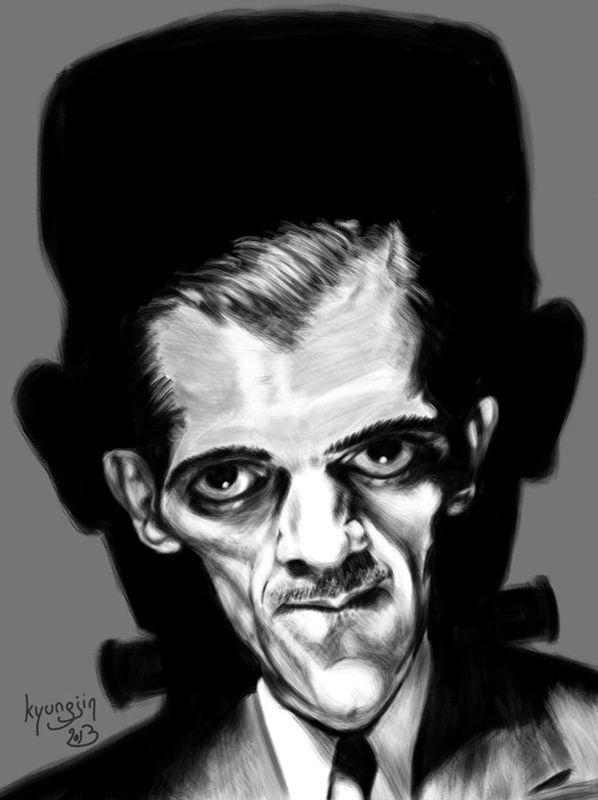 Caricature Boris Karloff Frankenstein