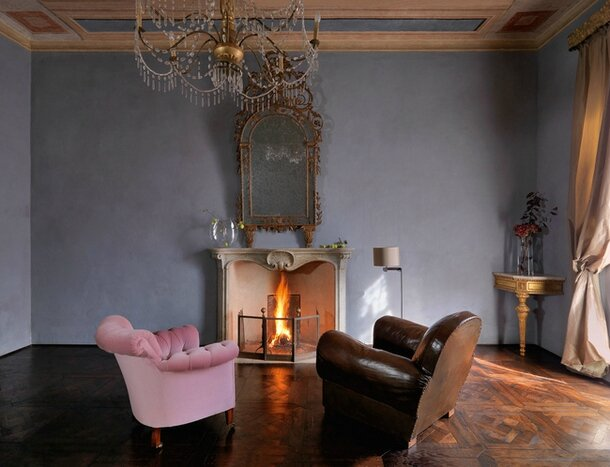 Photographer Alice Alexander's apartment in a XVIII century palazzo in the Piazza Maggiore in the medieval town of Mondovi