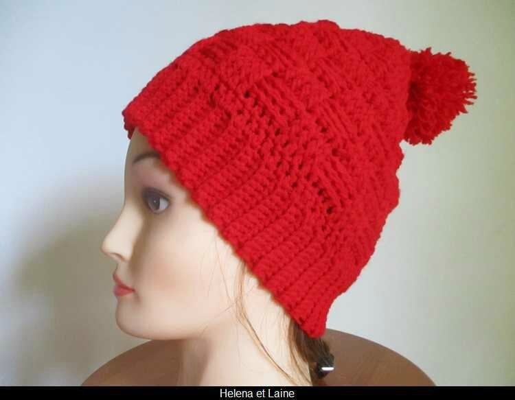 Bonnet rouge point panier et pompon4
