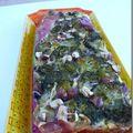 Terrine brocolis/jambon/champignons et noisettes