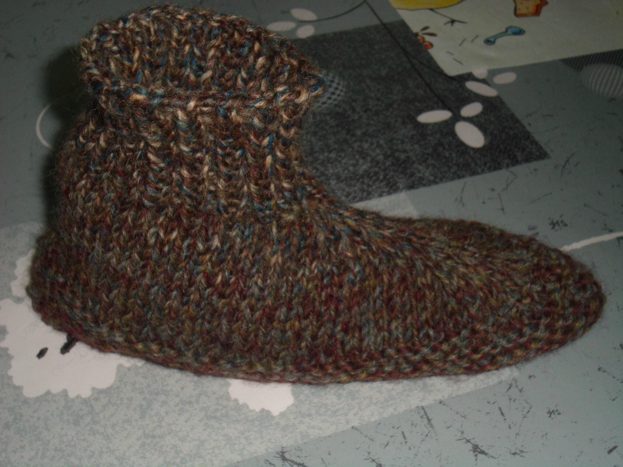 comment tricoter des chaussons adultes
